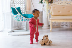 Happy Mixed Race Toddler Boy. Happy Mixed Race Toddler Baby Boy indoors Royalty Free Stock Images