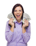 Happy Mixed Race Woman Holding the New One Hundred Dollar Bills Stock Photos