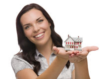 Happy Mixed Race Woman Holding Small House Isolated on White Stock Photography