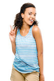 Happy mixed race woman peace sign isolated Royalty Free Stock Images