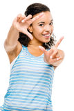 Happy mixed race woman peace sign isolated Stock Photography