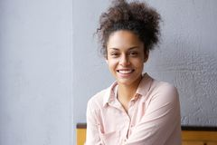 Happy mixed race woman smiling indoors Royalty Free Stock Image