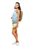Happy mixed race woman student going back to school royalty free stock photography