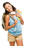 Happy mixed race woman student going back to school Stock Image