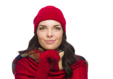 Happy Mixed Race Woman Wearing Winter Hat and Gloves Royalty Free Stock Photo