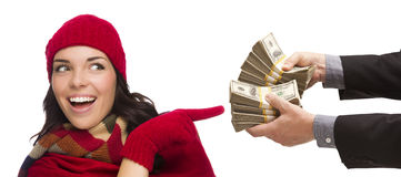 Happy Mixed Race Young Woman Being Handed Thousands of Dollars Royalty Free Stock Photos