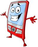 Happy mobile phone. Cartoon illustration of happy red mobile phone Stock Image