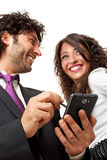 Happy mobile technology Stock Images