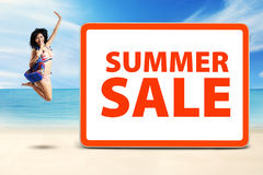 Happy model celebrate summer sale time Royalty Free Stock Photo