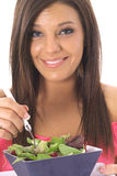 Happy model eating healthy Royalty Free Stock Photos