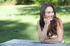 Happy Model Looking Right Royalty Free Stock Images