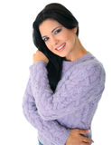Happy Model Posing. Attractive young woman posing on white background royalty free stock photos
