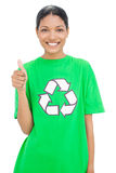 Happy model wearing recycling tshirt giving thumb up Royalty Free Stock Images