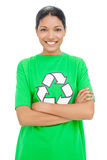 Happy model wearing recycling tshirt posing Stock Photos