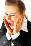 Happy modern business woman winking isolated Royalty Free Stock Photos