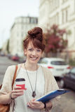 Happy modern businesswoman in a street Stock Photography