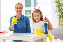 Happy modern family enjoy to cleaning house Stock Image