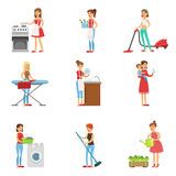 Happy Modern Housewives Cleaning And Housekeeping, Performing Different Household Duties  Stock Photo