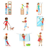 Happy Modern Housewives Shopping And Housekeeping, Performing Different Household Duties With A Smile Royalty Free Stock Image