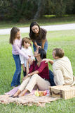 Happy modern multicultural family enjoying picnic royalty free stock photos