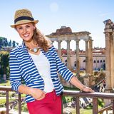 Happy modern woman in Rome, Italy enjoying promenade Royalty Free Stock Photo