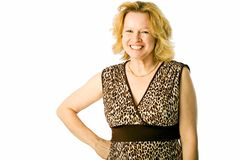 Happy mom. Adult woman poses with a big smile Stock Photos