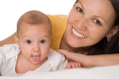 Happy mom and baby. Happy mom holds the baby Stock Images