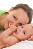 Happy mom and baby. Happy mom s holds the baby royalty free stock image
