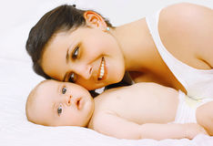 Happy mom and baby Royalty Free Stock Images