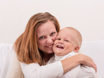 Happy Mom and Baby Boy Royalty Free Stock Photography