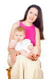 Happy mom and baby isolated Stock Photography