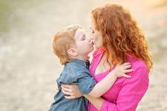 Happy Mom and baby son Stock Photo