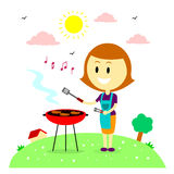 Happy Mom Barbecuing in the Backyard House Royalty Free Stock Photography