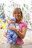 Happy mom with child. On the walking Stock Image