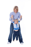 Happy mom and child play Stock Photos