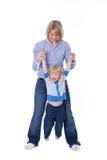Happy mom and child play stock photos