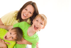 Happy mom and children Royalty Free Stock Photos