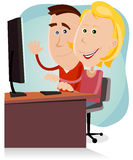 Happy Mom And Dad Working On Desktop Computer. Illustration of a cartoon happy couple of father and mother, surfing on the net or working on a desktop computer Stock Photography