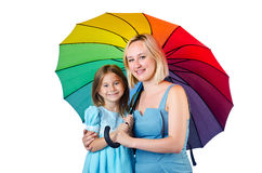 Happy mom and daughter. On white Royalty Free Stock Photography