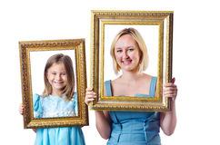 Happy mom and daughter. On white Stock Photos