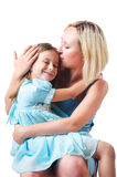 Happy mom and daughter. On white Royalty Free Stock Images