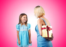 The happy mom and daughter on white Royalty Free Stock Image