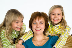 Happy mom with daughters Stock Photos