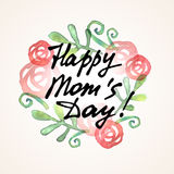 Happy Mom Day freehand lettering stock illustration