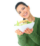 Happy Mom Giving Salad Royalty Free Stock Photography