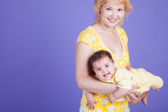 Happy mom and her baby Royalty Free Stock Images