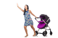 The happy mom with her baby in pram Stock Images