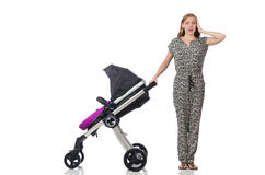 The happy mom with her baby in pram Stock Image
