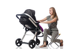 Happy mom with her baby in pram Stock Photography