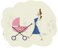 Happy mom with her baby in pram Royalty Free Stock Image